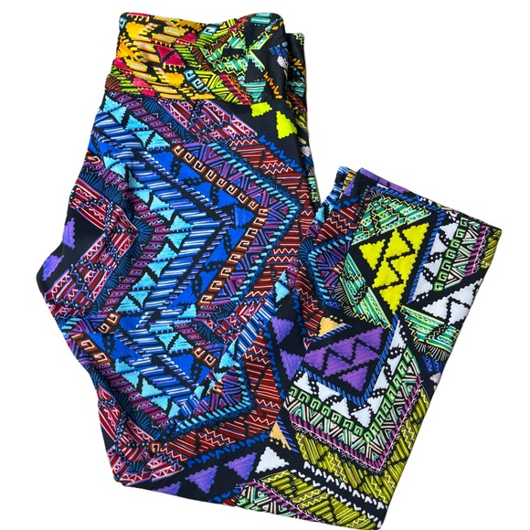 Onzie Colorful Mosaic Print Cropped Leggings S/M